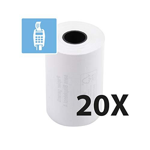 Exacompta 40751E Packung mit (20 Kassenrollen, 1-lagig thermisch hohe Auflösung, ideal für Kartenzahlung, 55g/qm, Breite: 57mm, Durchmesser Kern: 12mm, Länge: 18m) 1er Pack (1 x 20 Stück) weiß
