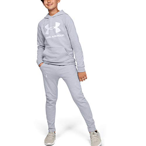 Under Armour Boys' Rival Logo Hoodie, Mod Gray Light Heather (012)/White, Youth Large