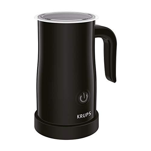 Krups XL1008 Elektrischer Milchaufschäumer (bis zu 150 ml Aufschäumkapazität, einfache Bedienung auf Knopfdruck, 360 Grad drehbarer Boden, automatische Abschaltung) schwarz