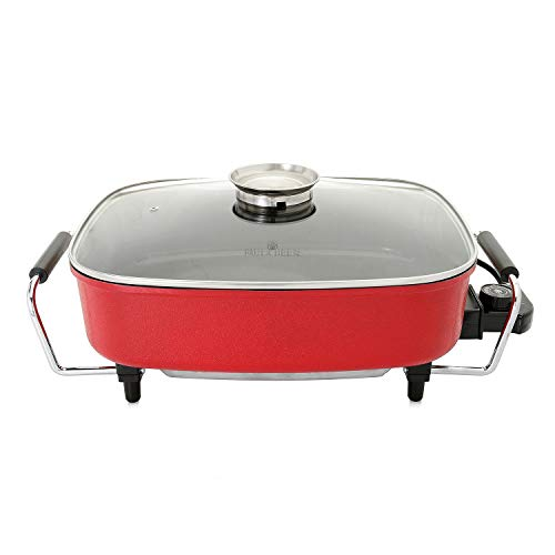 Paula Deen 15-inch (1400 Watt) Large Electric Skillet with Glass, Basting Lid; Easily Saute, Sear, Cook Casseroles, Brown Meats, Simple Temperature Dial with Keep Warm Feature (Red)