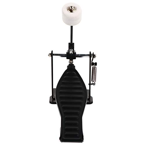 EXCEART Single Kick Bass Drum Pedal Double Chain Foot Percussion Hardware Drum Step Practice Instrument Accessory for Beginner Pro Drummers Black