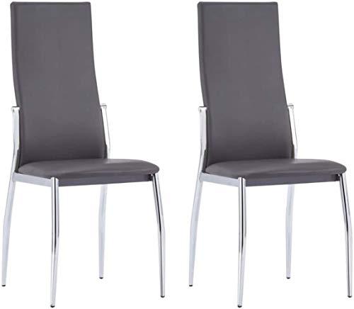 Essplatzstühle Polster 2 Stück Aluminium-Kunstleder Grau