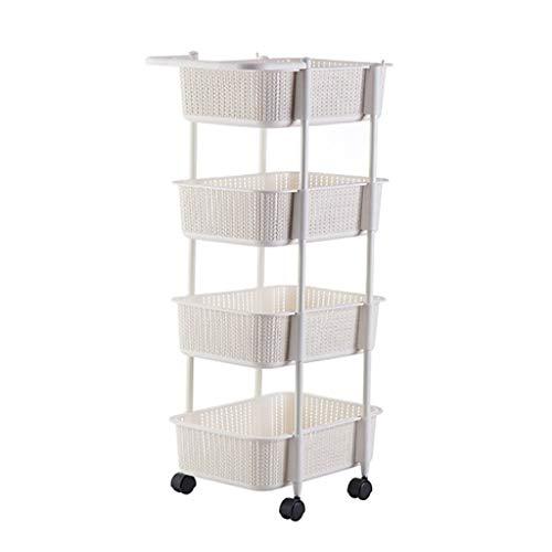 Carro de almacenamiento con 4 niveles deslizables para cocina, organizador de almacenamiento de pared, mueble de torre de baño con ruedas (color: A)