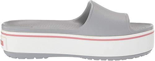 crocs Unisex-Erwachsene Crocband Platform Slide U Dusch- & Badeschuhe, Grau (Light Grey/Rose 04m), 42/43 EU