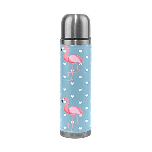 Ffy Go Travel Mug, Flamingo Impression personnalisé Thermos en acier inoxydable LeakProof Thermos isotherme extérieur Cuir pour filles garçons Bleu 500 ml
