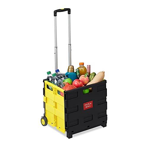 Relaxdays Einkaufstrolley klappbar, Teleskop-Griff, 2 Gummi Rollen, bis 35 kg, Shopping Trolley, Aluminium, ABS, gelb 10027691_48