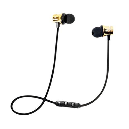 Fossrn Auricular Bluetooth BT 4.1 Estéreo Auriculares Inalámbrico magnético In-Ear Auriculares Auricular para Running/Deporte (Oro)