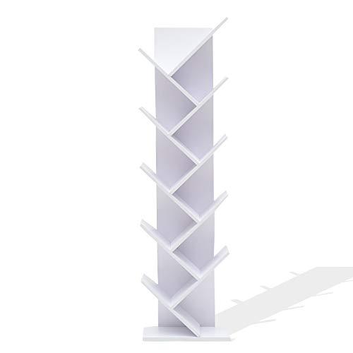 Rebecca Mobili Libreria Bianca, scaffale Moderno, 10 Ripiani, legn MDF, per casa Studio Ufficio - Misure: 160 x 44,5 x 22 cm (HxLxP) - Art. RE4584