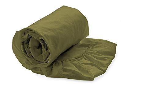 Heckett & Lane Katoenen percale hoeslaken voor boxspring topper 160 x 200 cm tot 12 cm I Olive Green