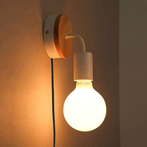 Moderno Luces de pared, E27 Vendimia Industrial Lámpara de pared con enchufe Desván Base de madera Aplique de la pared para dormitorio Café Bar Restaurante Oficina Interruptor de botón,White,h20cm