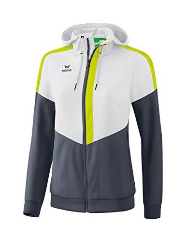 Erima Damen Squad Tracktop Trainingsjacke, weiß/Slate Grey/Bio Lime, 38