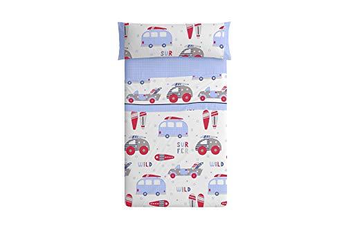 Burrito Blanco 161 Juego de Sábanas 90 Infantiles con Un diseño de Estampado de Autocaravanas con Tablas Windsurf/Juego de Sábanas Infantiles para Cama Individual de 90x190cm, Azul y Rojo