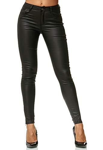 EGOMAXX Damen Treggings Hose Leder Optik Kunstleder Hose Skinny Stretch Röhre D2476, Farben:Schwarz, Größe:40