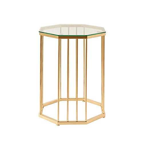 MTCGH Mesa auxiliar de cristal templado para el hogar, mesa de centro de hierro nórdico, soporte dorado, 46 x 46 x 55 cm, 46 x 46 x 55 cm, 46 x 46 x 55 cm.
