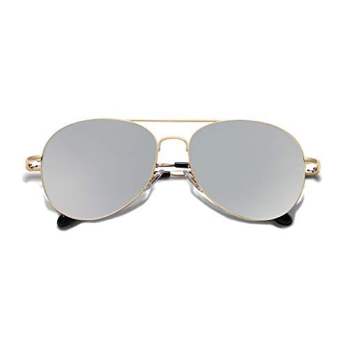 SOJOS Mode Flieger Metallrahmen Verspiegelt Linse Unisex Piloten Sonnenbrille mit Frühlings Scharnieren SJ1030 mit Gold Rahmen/Silber Linse