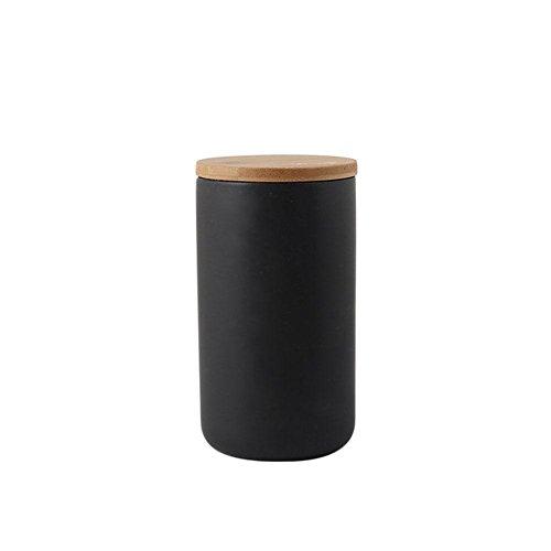 Vorratsdose keramik porzellan kaffeedose teedose aufbewahrungsdosen küche Zuckerdose,Dose für Tee, Dose für Kaffee Aufbewahrung Vorratsgläser mit Deckel,Schwarz,10.3 * 10.3 * 18.2cm