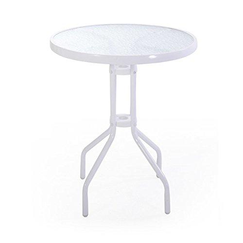 VERDELOOK iOS, Tavolino da Esterno con Struttura in Metallo Verniciato e Vetro temprato 5 mm, 60x60 h71 cm