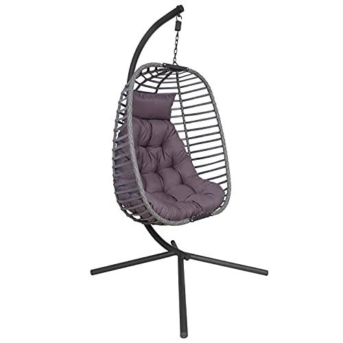 Silla de exterior de poliéster trenzado con estructura y cojín de asiento suave, para exteriores e interiores, plegable, silla colgante de mimbre, soporta hasta 200 kg (gris)