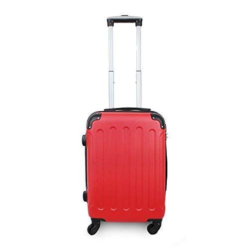 Todeco - Valigia A Mano, Bagaglio A Mano - Dimensioni (ruote incluse): 56 x 38 x 22 cm - Dimensione interna: 49 x 35 x 21 cm - Angoli protettivi, Bagaglio a mano 51 cm, Rosso, ABS