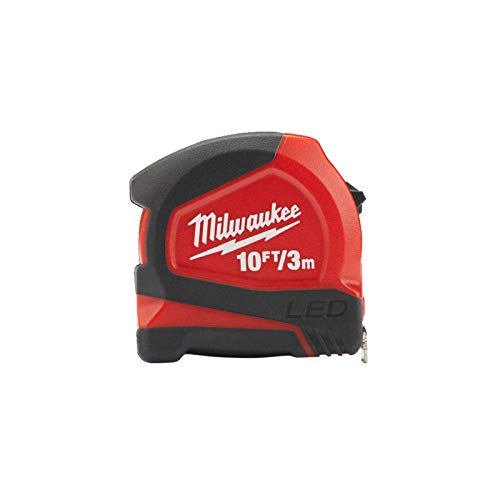 Milwaukee 48226602 - Cinta métrica LED (3 m, 12 mm), color rojo