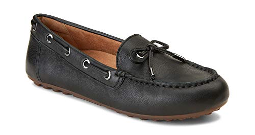 Vionic Women's Honor Virginia Loafer - Ladies Moccasin with Concealed Orthotic Arch Support Black Leather 9 Medium US