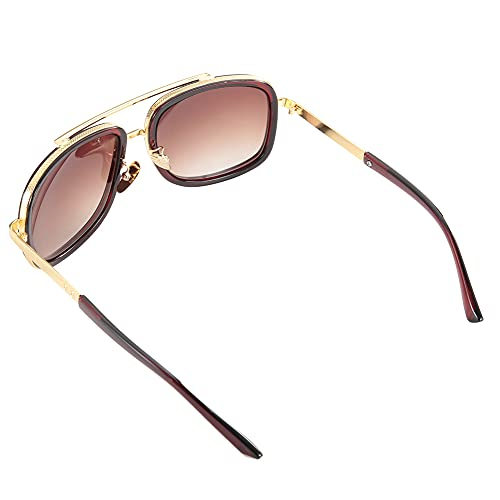 Gafas de Sol, Gafas de Sol de Lentes Transparentes Vintage para conducción de Verano, Viajes, Actividades al Aire Libre y Deportes para la Playa(Tea Frame Tea Slices, Love Type)