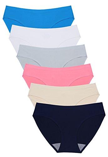 Wealurre Seamless Underwear Invisible Bikini No Show Nylon Spandex Women Panties (WR,S)