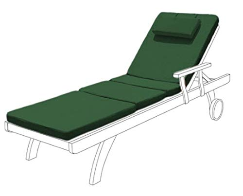 Gardenista Garden Sunlounger Replacement Pad | Sun lounger Recliner Patio Furniture Hypoallergenic Cushion | Water Resistant Fibre Filled | Durable Thick & Comfortable (Green)