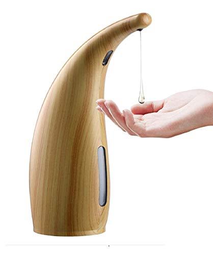 Coolty Automatischer Seifenspender, 300ML berührungsloser Handdesinfektionsmittel mit Infrarot-Bewegungsmelder für Küche, Badezimmer, Hotel, Schule, Büro helles holz