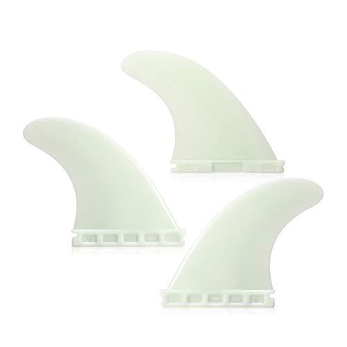 RANGE Aletas de Tabla de Surf FCS Long 11.1cm Tri Fin 4.37 '' Surf Tri Fin Fijado Tabla De Surf Aleta Aletas Empujador Deportes 3 Paquetes De Agua Tabla De Surf (Color : White)