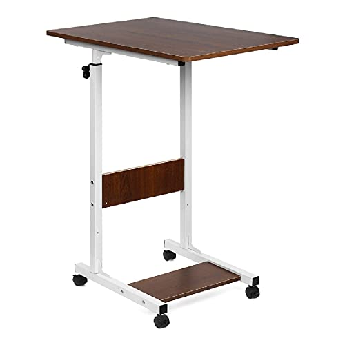N/Z Home Equipment Office Desk Moveable Computer Laptop Desk Height Adjustable Writing Study Table Book Storage Shelf Workstation with Wheels Writing Computer Desk