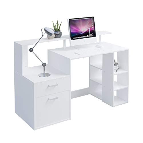 Hadwin Computer Desk for Home,Wood Office Desk with Drawers/Shelves Storage,Home Office Study Table Gaming Desk PC Laptop Workstation.