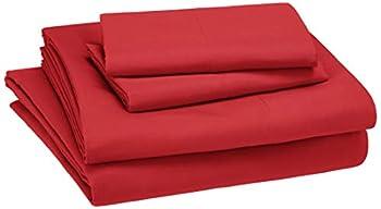 Amazon Basics Kid s Sheet Set - Soft Easy-Wash Lightweight Microfiber - Full Red