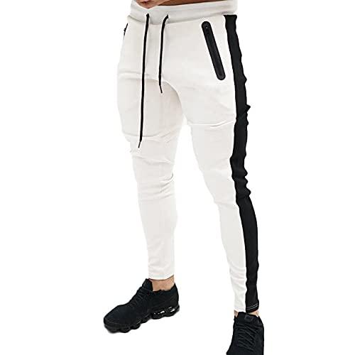 XYYGF Otoño/Invierno nuevos Deportes y Ocio para Hombres Tabla Ligera Pantalones de Fitness Delgados Pantalones para Hombres pies pequeños Pantalones radiantes-White_M