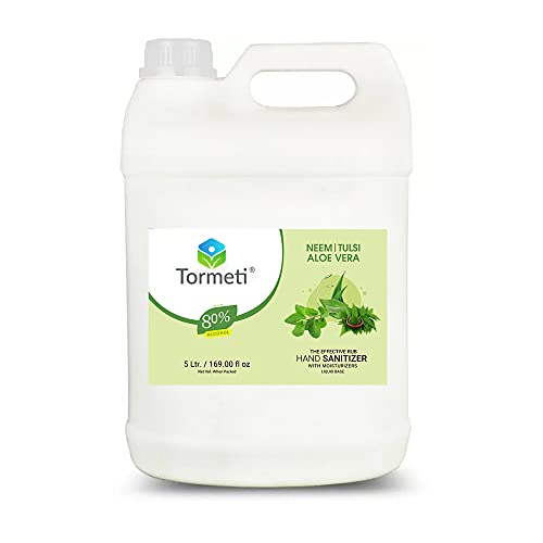 Tormeti Pure & Safe Hand Sanitizer With Tulsi, Neem & Aloe -Vera Power of 3 Herbal, 80% Alcohol Multi-Purpose Use, WHO Recommended 80% Alcohol Base Liquid Hand Sanitizer 5 Liter (Neem, Tulsi & Aloe Vera (NTA))