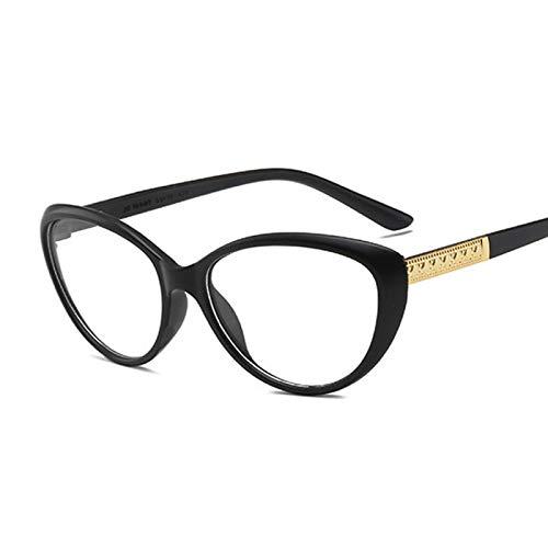 NJJX Gafas De Moda Con Montura De Ojo De Gato Para Miopía, Gafas Ópticas Para Mujer, Gafas Antiazules, Cómodas, Ligeras, Transparentes, Gafas, Arena, Negro