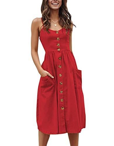 Walant Robes pour Femmes mi-Longue à Bretelles Ete Tie Front Col V Manches Courtes Bouton A-Line Sexy Robe Plage d'été Casual Chic Vintage Floraux, Rouge 3, L