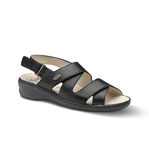 Feliz Caminar - Sandalia Piel Antideslizantes y Cómodas para Hombre y Mujer | Frescas para Vestir en Epocas de Calor Verano Primavera | Modelo Sana 13302 | Talla 42 | Color Negro