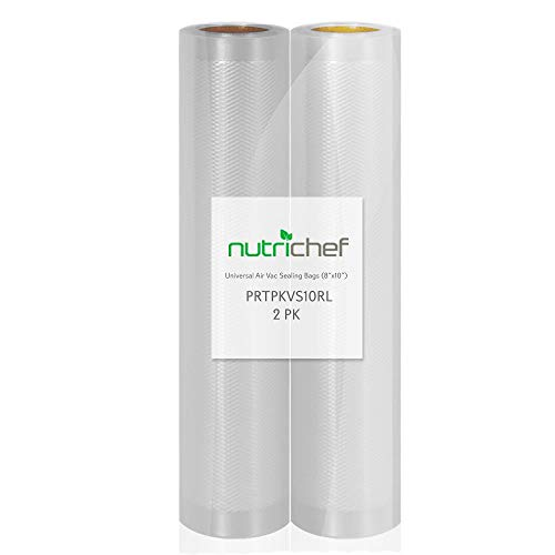 NutriChef Dois Rolos de Armazenamento de Alimentos Seladora a Vácuo de Grau Comercial de 20 cm x 25 mm | Crie seu próprio tamanho de bolsa, marcas, transparente