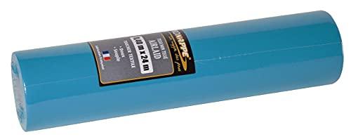 Pro Nappe - Réf R532428I - Tête à tête jetable en rouleau de 24 M de long X 0,4 M de large - Couleur bleu turquoise - Prédécoupé tous les 1,20 M - Intissée Airlaid, matière effet textile