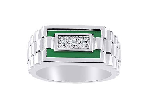 Juego de anillos de cuarzo y ónice verde para hombre en oro blanco de 14 quilates. La piedra es especial para este anillo. Estilo de diseñador