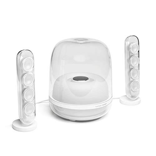 HK SoundSticks 4-2.1 Bluetooth Speaker System with Deep Bass and Inspiring Industrial Design (White)