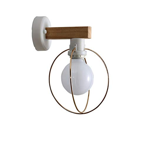 Moderno Simple Interior Luces de pared de madera con esfera Pantalla de metal Pasillo Escaleras Imágenes Área de entrada Luces de espejo Noche Lámpara de pared blanca E27 18 * 22 * 28cm