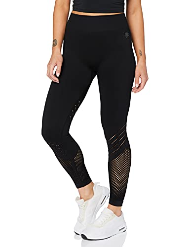Amazon-Marke: AURIQUE Damen Nahtlose Lauf-Leggings, Schwarz (Black), 38, Label:M