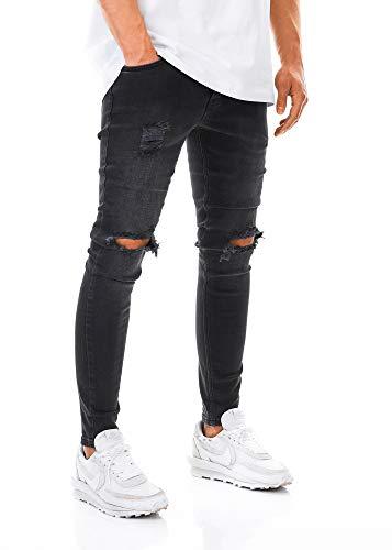 Burocs Herren Destroyed Jeans Slim Fit Skinny Stretch Denim Schwarz BR1512, Farbe:Schwarz, Hosengröße:W30 L32