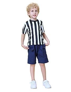 TOPTIE Children s Referee Shirt Costume Kids Ref Uniform for Soccer Football Basketball