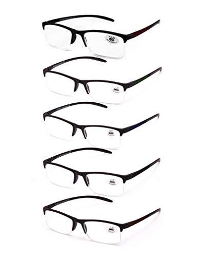 Pack de 5 Gafas de Lectura Vista Cansada Presbicia, Gafas de Hombre y Mujer Unisex con Montura de Pasta, Bisagras Standard, Para Leer, Ver...