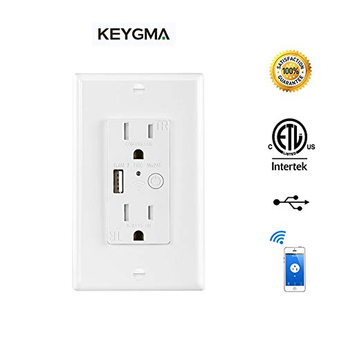 KEYGMA Smart Wi-Fi Outlet Duplex Receptacle In-Wall Charger Outlet With USB Port Compatible With Alexa, Google Assistant No Hub Required Tamper Resistant Intelligent Control Outlet (Smart Wall Outlet)