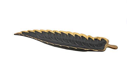 Porcelain Leaf Shaped Platter Dish with Gold Edge BLACK