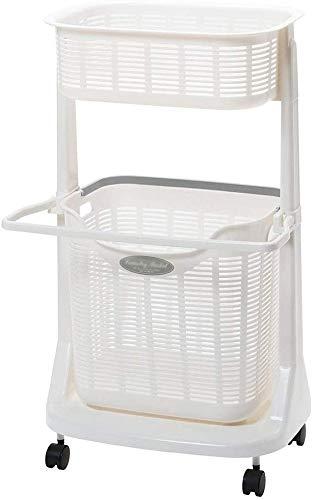 WYJW Wasmand met wielen en kloppers 2-traps basketbalrek met handdoekhouder voor de opbergmand in de badkamer